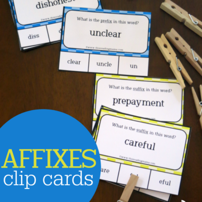Affixes Clip Cards: For Prefixes & Suffixes