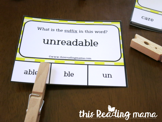 Affixes Clip Cards - suffix able example