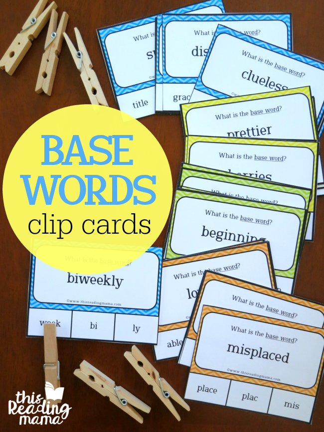 Base Words Clip Cards - This Reading Mama