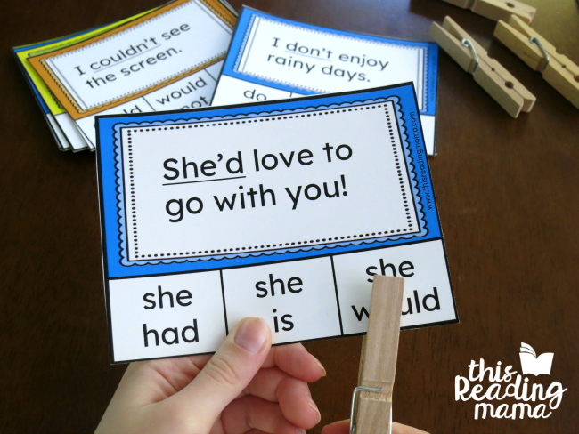 clip the two words that make the contraction on the contractions clip cards