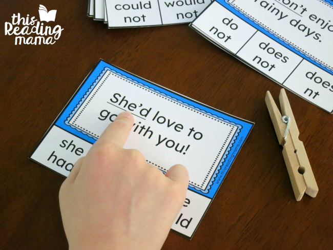 read the sentences on the contractions clip cards