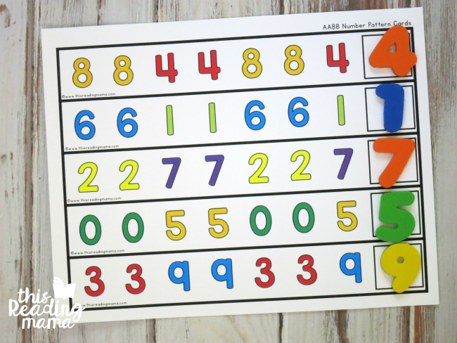 use magnetic numbers to complete number pattern cards