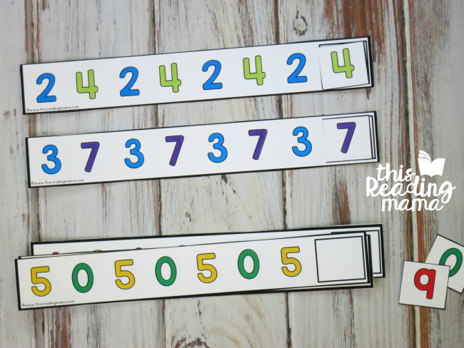 use number cards provided to complete number pattern cards