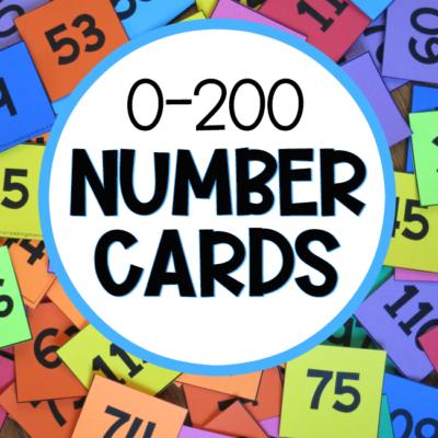 0-200 Pocket Chart Number Cards