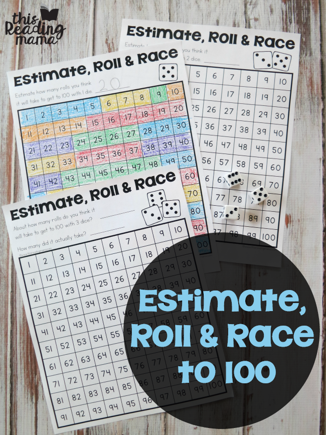 Estimate, Roll and Race to 100 - This Reading Mama