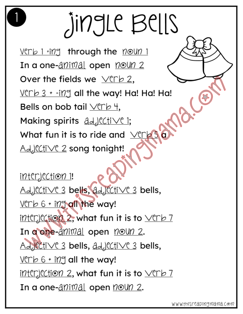 Christmas Songs Mad Libs - put your own words into the song