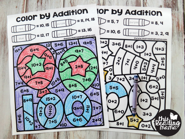8 color by addition pages for your 100th day of school