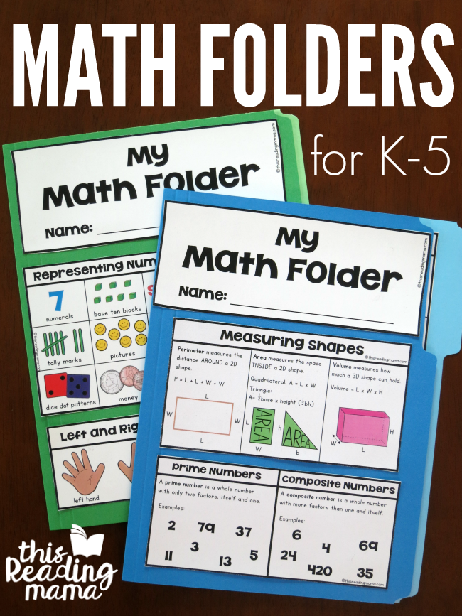 Free Math Folders for K-5 - This Reading Mama