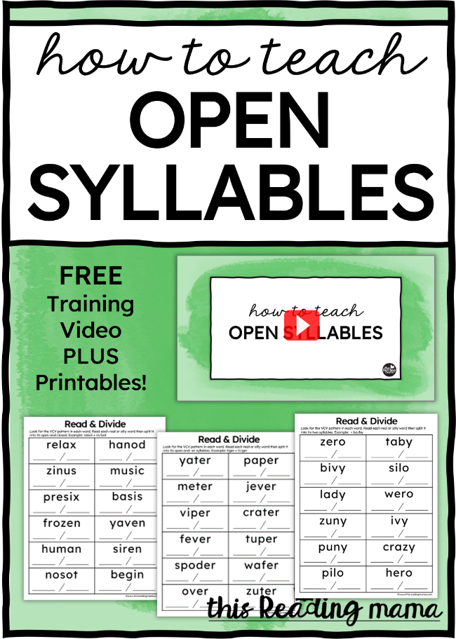 How to Teach Open Syllables - This Reading Mama