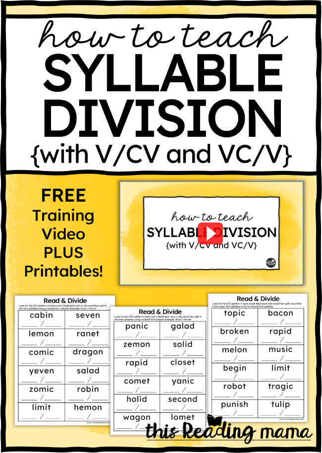 How to Teach Syllable Division V/CV or VC/V Blog Post - This Reading Mama