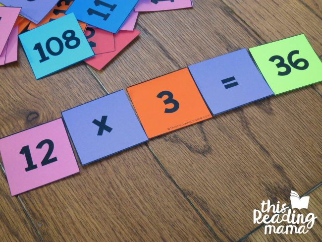 build equations with pocket chart number cards