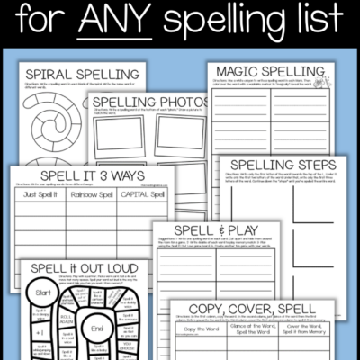 NO PREP Spelling Pages – ANY Word List
