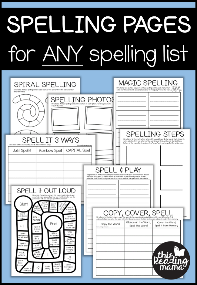 NO Prep Spelling Pages for ANY Spelling List - This Reading Mama