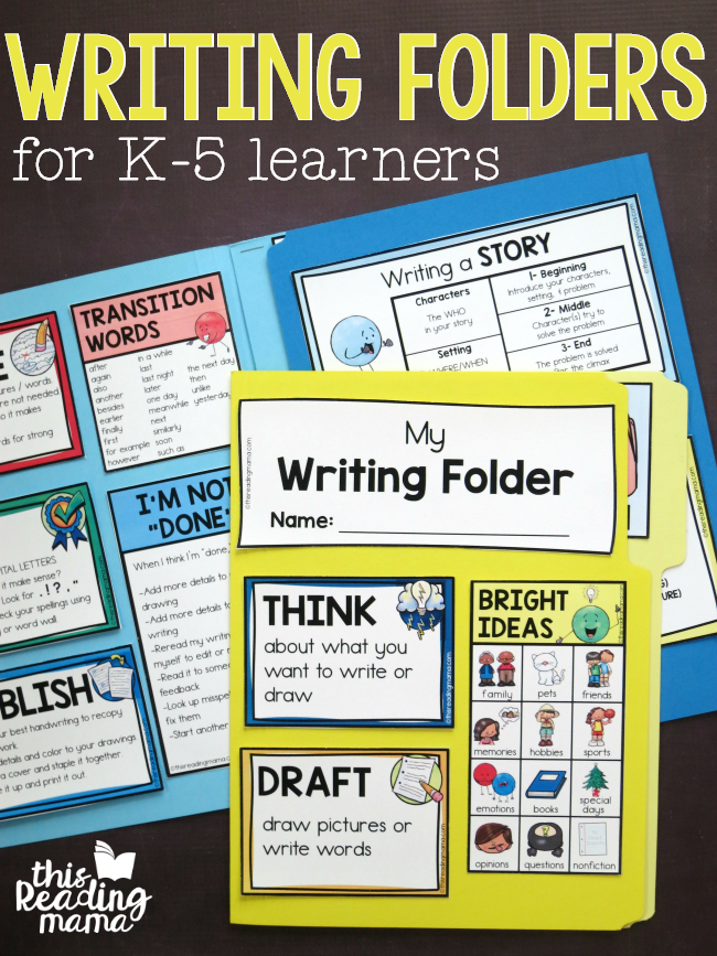 Writing Folders Freebies for K-5 Learners - This Reading Mama
