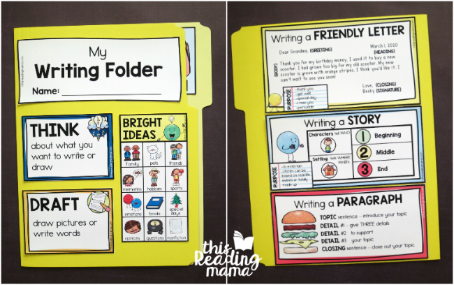 front and back of our K-2 Writing Folder