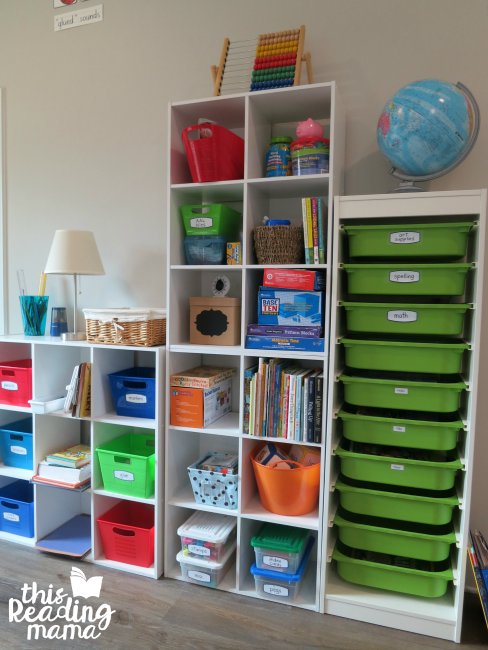 organizer in homeschool room