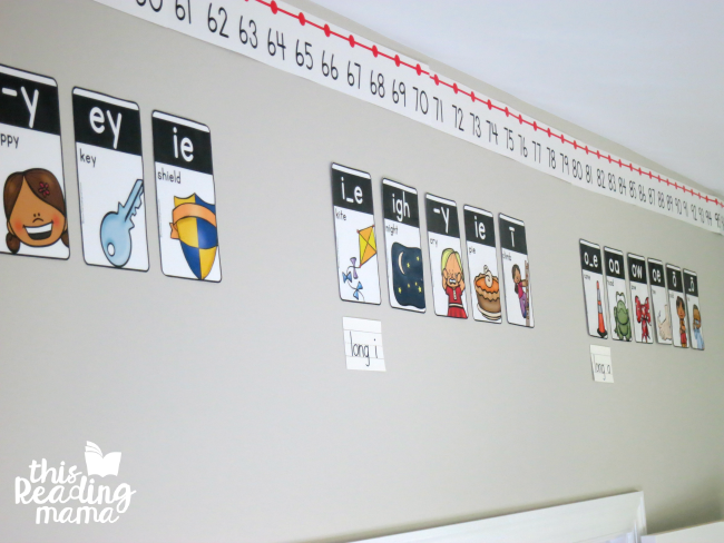 phonics cards and number line around homeschool room