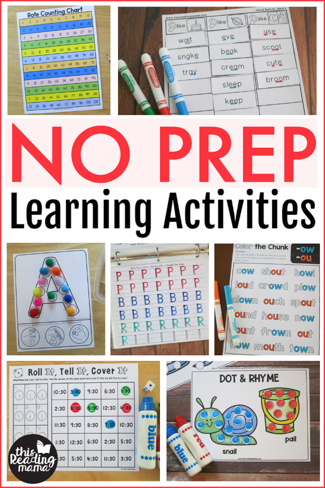 NO PREP Learning Activities - This Reading Mama