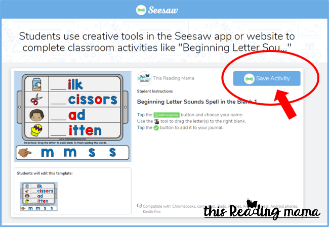 Seesaw Tutorial - Save Activity