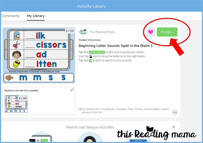 Seesaw Tutorial - assign to your class