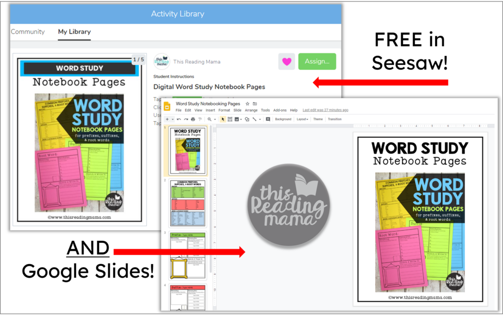 DIGITAL word study notebook pages for Seesaw and Google Slides