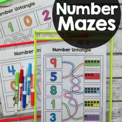 Fine Motor Number Mazes {3 Levels}