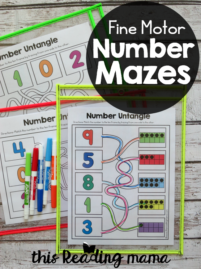 Fine Motor Number Mazes - This Reading Mama