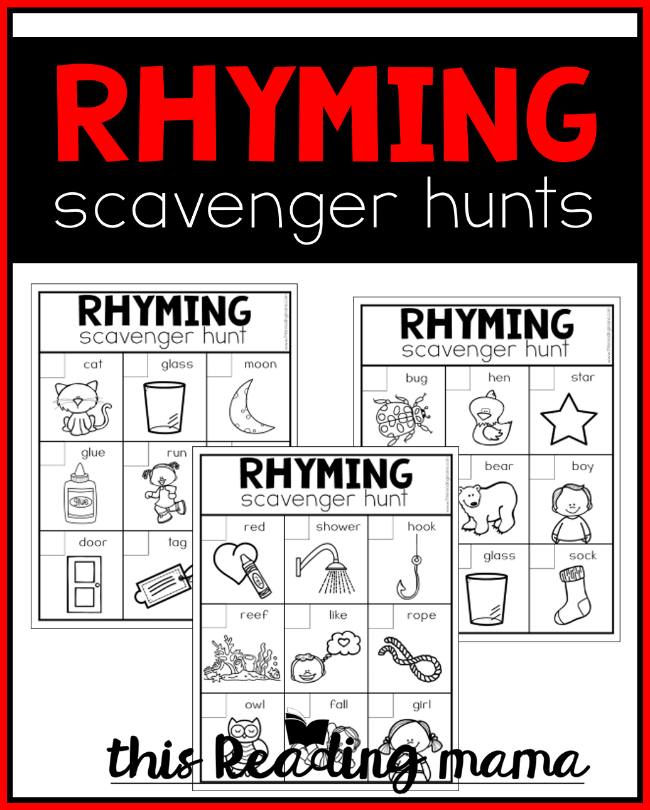 FREE Printable Rhyming Scavenger Hunts - This Reading Mama