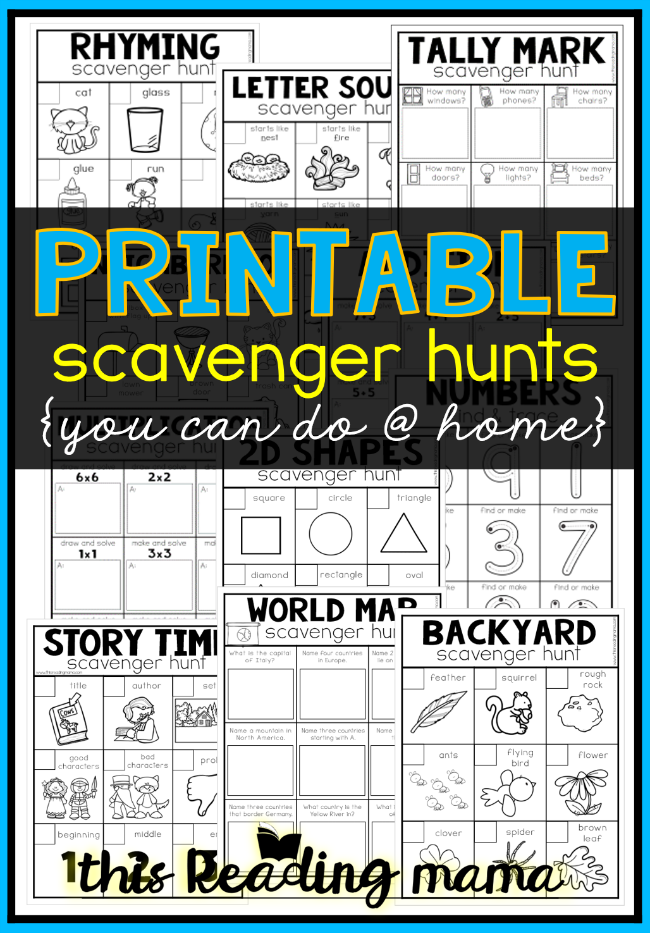 FREE Printable Scavenger Hunts You Can Do at Home - This Reading Mama