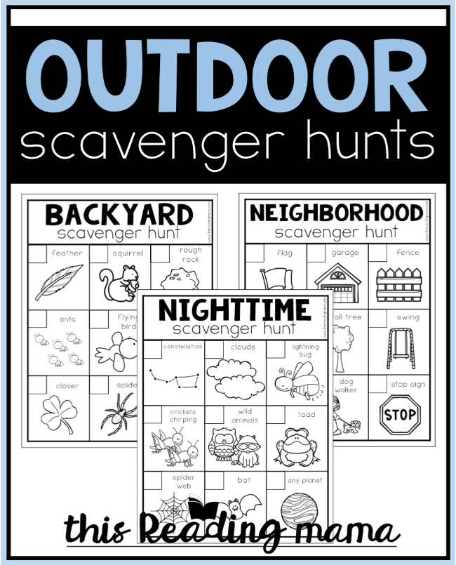 Printable Outdoor Scavenger Hunts - This Reading Mama
