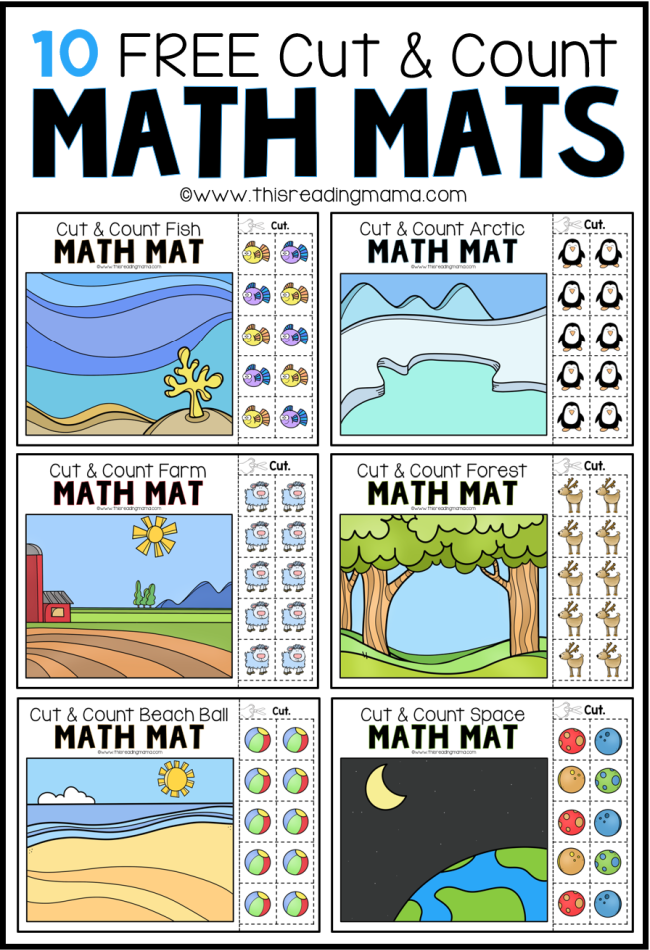 10 FREE Cut & Count Math Mats - This Reading Mama
