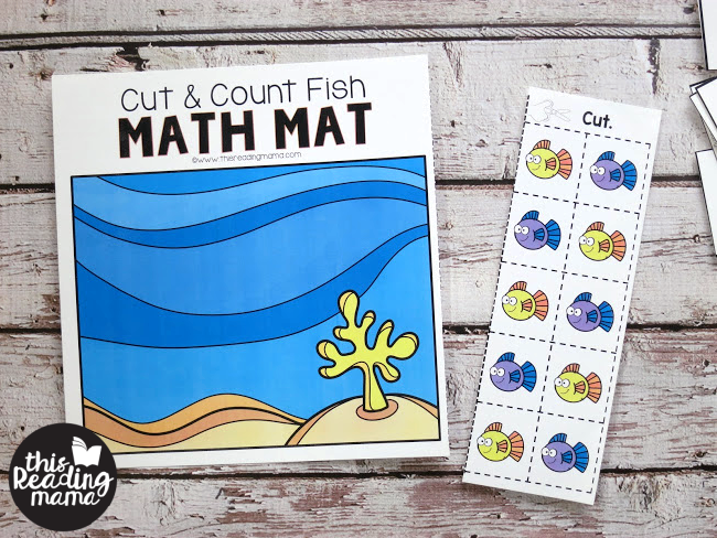 Cut & Count Math Mats - learners cut apart 10 manipulatives to use on the mat