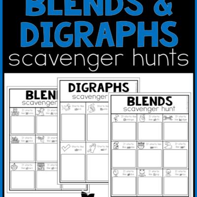 Printable Blends & Digraphs Scavenger Hunts