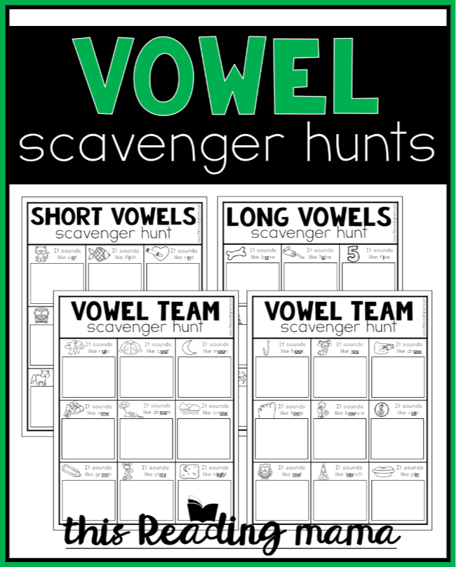 Printable Vowel Scavenger Hunts (FREE) - This Reading Mama