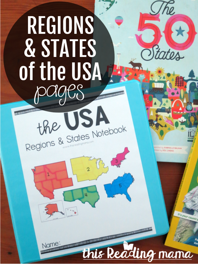 Regions and States of the USA Printables and Pages - This Reading Mama