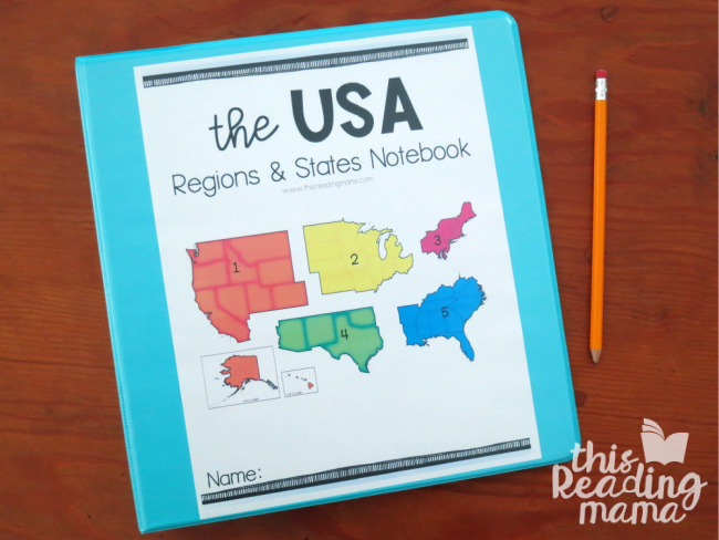 Regions and States of the USA cover for 3-ring binder