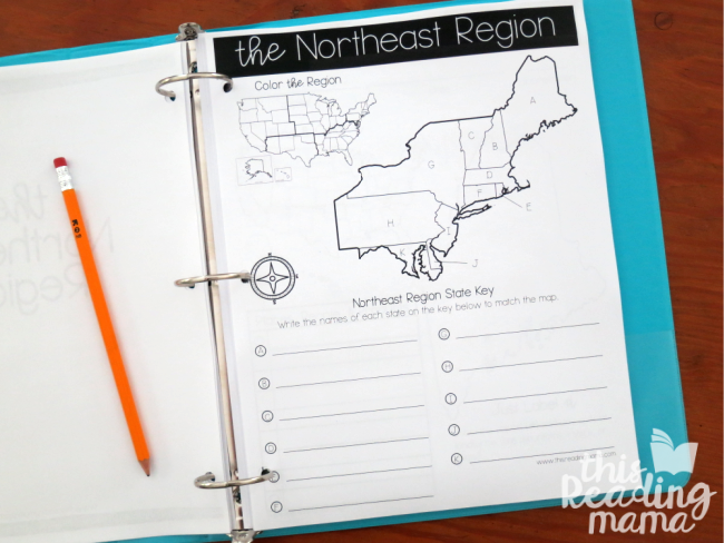 Regions and States of the USA - region page for NE region