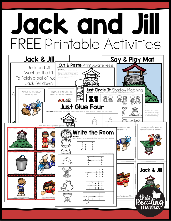 Printable Jack And Jill Nursery Rhyme