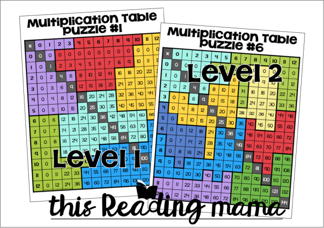 Multiplication Table Puzzles - Level 1 and Level 2 Examples