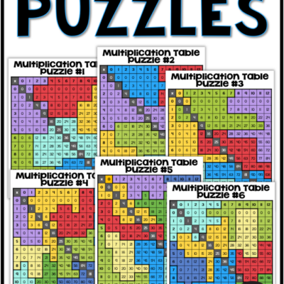 Multiplication Table Puzzles – 6 Different Puzzles