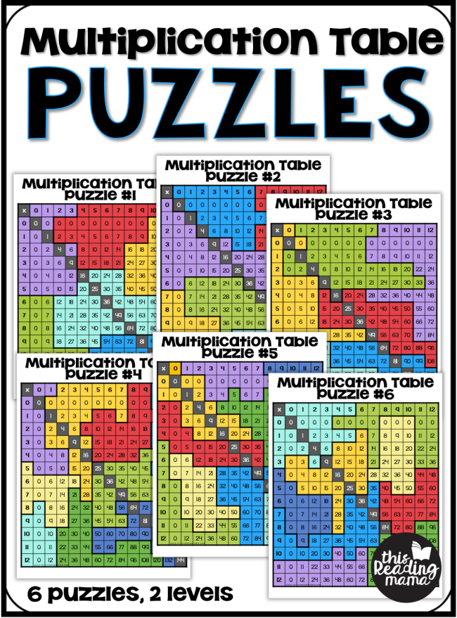 Multiplication Table Puzzles - 6 free puzzles - This Reading Mama