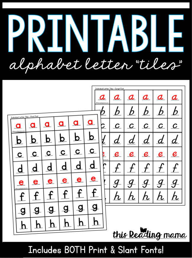 Printable Alphabet Letter Tiles - Print and Script - This Reading Mama