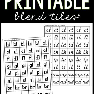Printable Blend Letter Tiles