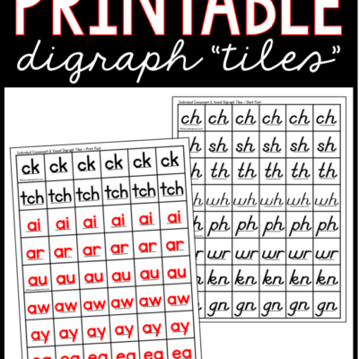 Printable Digraph Tiles + Vowel Team Tiles
