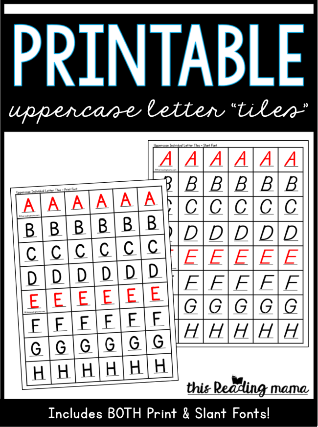 Printable Uppercase Letter Tiles - This Reading Mama