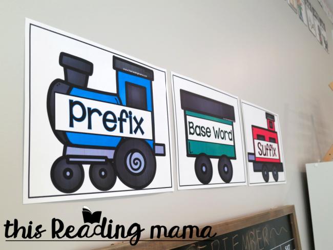 Word Parts Visual Train on wall of schoolroom