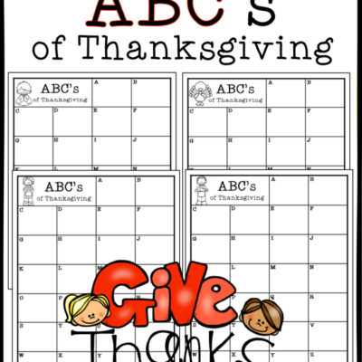 Giving Thanks ABC Chart {FREE}