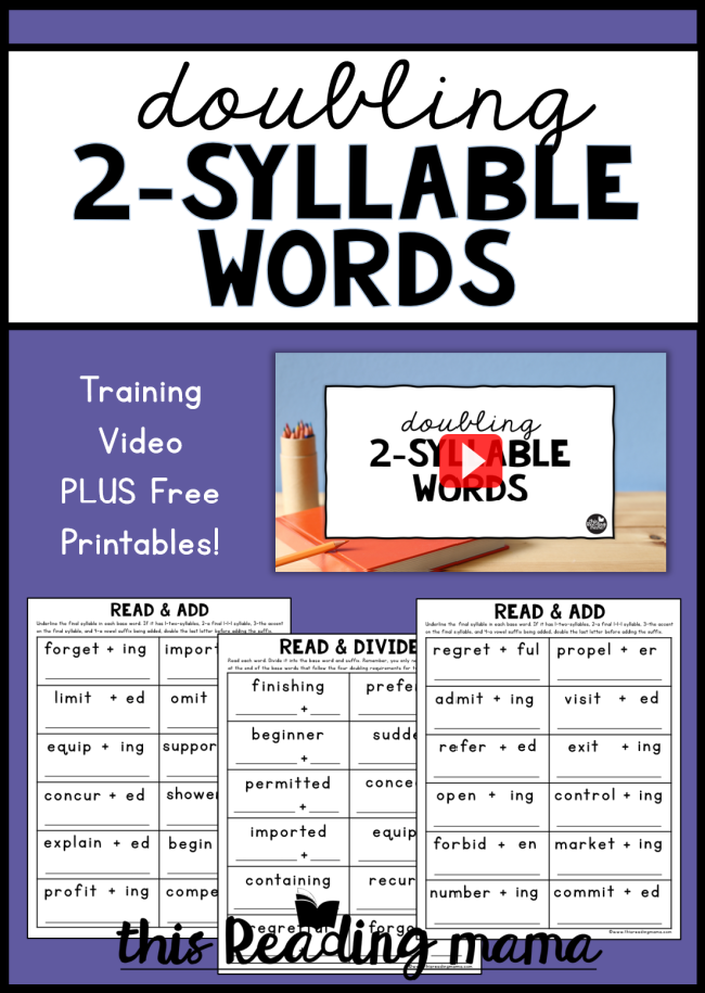 Doubling Two-Syllable Words Video + Freebie - This Reading Mama