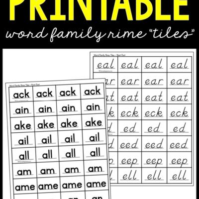 Printable Word Family Rime Tiles