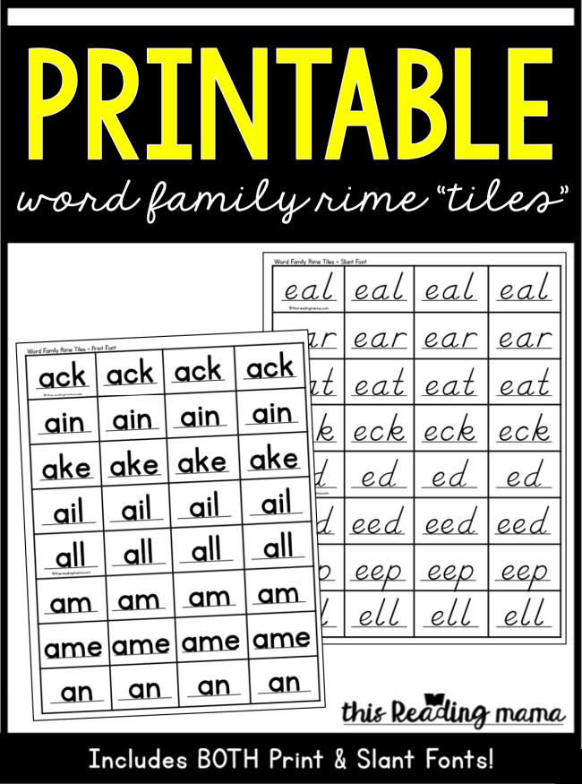 Printable Word Family Rime Tiles - This Reading Mama